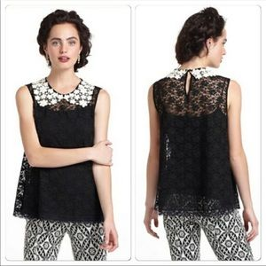 Anthropologie black lace sleeveless blouse